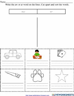 Interactive worksheet -Ar and -aw words