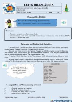 Interactive worksheet Simple Present-Daily routine