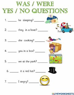 Interactive worksheet Was-were yes-no questions