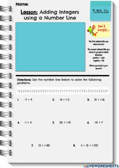 Interactive worksheet Adding Integers with a Number Line