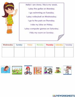 Interactive worksheet Daily routine girl