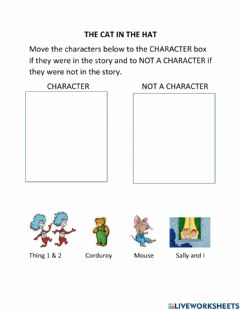 Ficha interactiva Characters in a Story: The Cat in the Hat