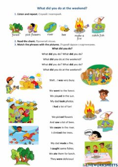 Interactive worksheet Smart Junior 3. Smart kids 8. What did you do at the weekend?