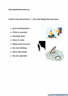 Interactive worksheet Life experiences Present Perfect Listening