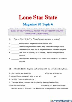 Interactive worksheet Lone Star State