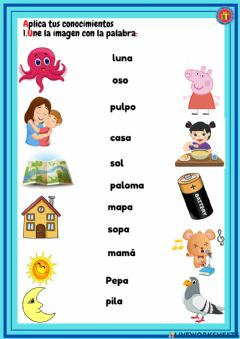 Interactive worksheet Palabras con m, p ,s, l