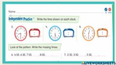 Interactive worksheet Tell and Write Time to the Half Hour