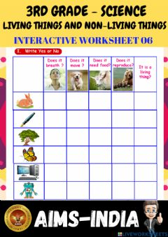 Interactive worksheet 3rd-science-ps06-living things & non living things