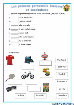 Interactive worksheet Les pronoms personnels toniques et vocabulaire