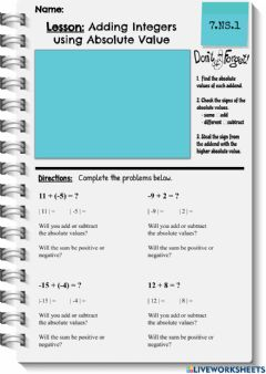 Interactive worksheet Adding Integers with Absolute Value