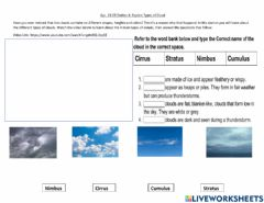 Interactive worksheet Types of Clouds