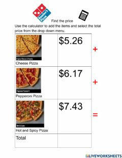 Interactive worksheet Find the price Dominos