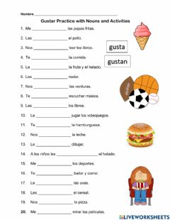 Ficha interactiva Spanish Gustar Practice with nouns and activities