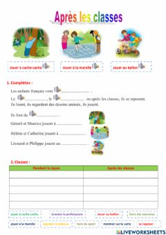 Interactive worksheet Après les classes