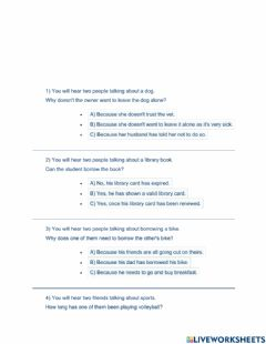 Interactive worksheet Ket listening part 2