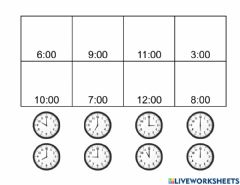 Interactive worksheet Matching Time to Hour F