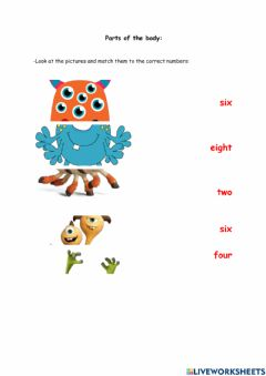 Interactive worksheet Monsters: Parts of the body