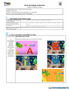 Interactive worksheet GTA -1 Abril Español