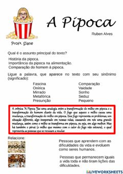 Interactive worksheet A Pipoca - Ruben Alves