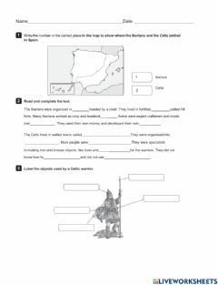 Interactive worksheet Ancient history of spain