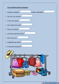 Interactive worksheet L'accord des couleurs