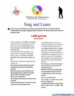 Interactive worksheet Sing and Learn - I will survive