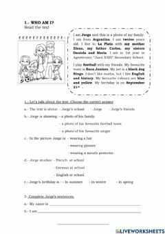Interactive worksheet Who Am I? Text about Jorge