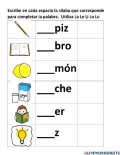 Interactive worksheet Completar palabras con L