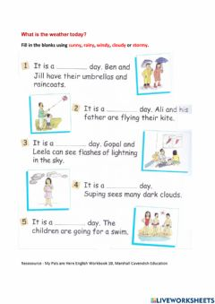 Interactive worksheet What is the weather today?
