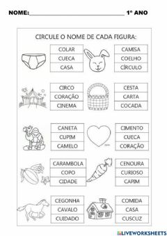 Interactive worksheet Leitura letra c