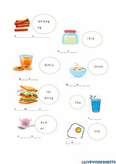 Interactive worksheet Food breakfast