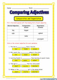 Interactive worksheet Comparing Adjectives