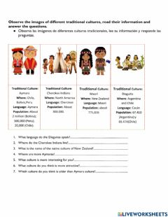 Interactive worksheet Different Cultures