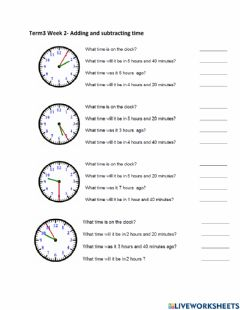 Interactive worksheet Year 5 Tr 3 Week 2- Adding and subtracting time