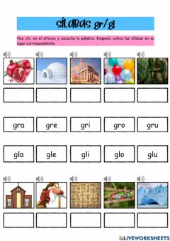 Interactive worksheet Sílabas gr-gl
