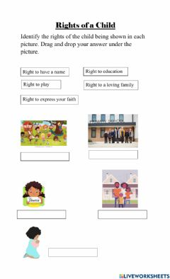 Interactive worksheet Rights of a child