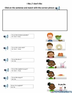 Interactive worksheet Do you like - no I don't