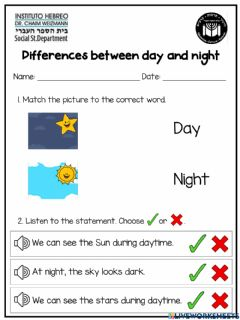 Interactive worksheet Differences between day and night