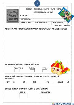 Interactive worksheet Dia do livro
