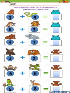 Interactive worksheet Adição animal