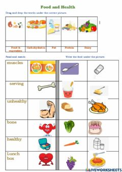 Interactive worksheet Food and Health 1