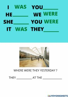Interactive worksheet Where were you yesterday ?