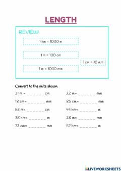 Interactive worksheet Converting units of length