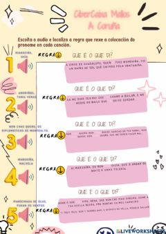 Interactive worksheet Escoita os pronomes átonos