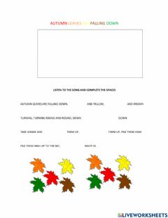 Interactive worksheet Autumn leaves are falling down