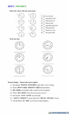 Interactive worksheet The time - Present simple