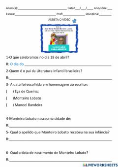 Interactive worksheet Monteiro Lobato