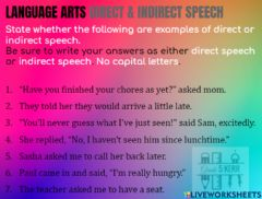 Interactive worksheet Direct and Indirect Speech