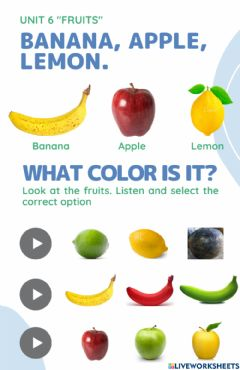 Interactive worksheet Fruits - What color is it?