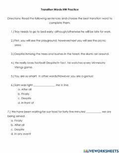 Interactive worksheet Transition Words HW Practice